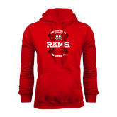 Red Fleece Hoodie-Baseball Seams