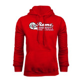 Red Fleece Hoodie-Softball Script w/ Ball
