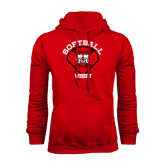 Red Fleece Hoodie-Softball Diamond and Seams