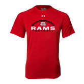 Under Armour Red Tech Tee-Football Horizontal Stacked