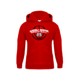Youth Red Fleece Hood-Basketball Arched w/ Ball