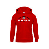 Youth Red Fleece Hoodie-Football Horizontal Stacked
