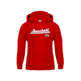 Youth Red Fleece Hoodie-Baseball Script