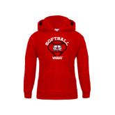Youth Red Fleece Hoodie-Softball Diamond and Seams
