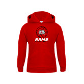 Youth Red Fleece Hoodie-Rams Volleyball Stacked