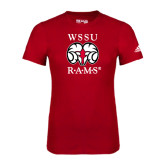 Adidas Red Logo T Shirt-Stacked WSSU Rams