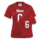 Ladies Red Replica Football Jersey-#6