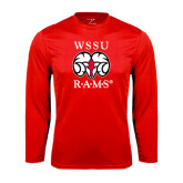 Performance Red Longsleeve Shirt-Stacked WSSU Rams