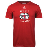Adidas Climalite Red Ultimate Performance Tee-Stacked WSSU Rams