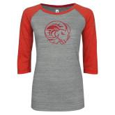 ENZA Ladies Athletic Heather/Red Vintage Baseball Tee-N Red Glitter