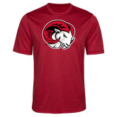 Performance Red Heather Contender Tee-Ram Head