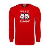 Red Long Sleeve T Shirt-Stacked WSSU Rams