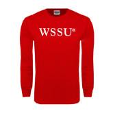 Red Long Sleeve T Shirt-WSSU Flat