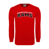 Red Long Sleeve T Shirt-Arched Winston-Salem Rams