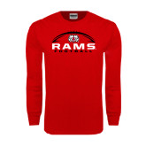 Red Long Sleeve T Shirt-Football Horizontal Stacked