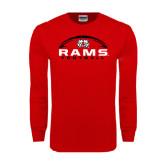 Red Long Sleeve T Shirt-Football Horizontal Stacked