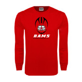 Red Long Sleeve T Shirt-Football Vertical Stacked