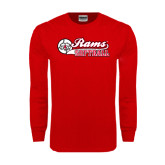 Red Long Sleeve T Shirt-Softball Script w/ Ball