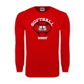 Red Long Sleeve T Shirt-Softball Diamond and Seams