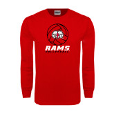 Red Long Sleeve T Shirt-Rams Volleyball Stacked
