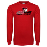 Red Long Sleeve T Shirt-WSSU Rams Mascot Mark