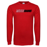 Red Long Sleeve T Shirt-WSSU Rams Wordmark
