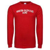 Red Long Sleeve T Shirt-Winston Salem State University