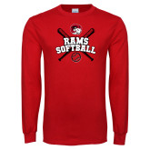 Red Long Sleeve T Shirt-Softball