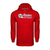 Under Armour Red Performance Sweats Team Hoodie-Softball Script w/ Ball