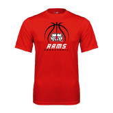 Performance Red Tee-Basketball Stacked