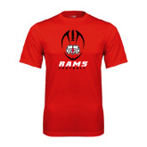 Performance Red Tee-Football Vertical Stacked