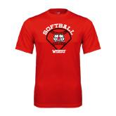 Performance Red Tee-Softball Diamond and Seams
