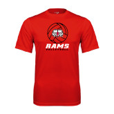 Performance Red Tee-Rams Volleyball Stacked