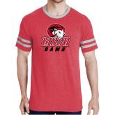 Red Heather/Grey Tri Blend Varsity Tee-WSSU Rams