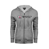 ENZA Ladies Grey Fleece Full Zip Hoodie-Ram WSSU