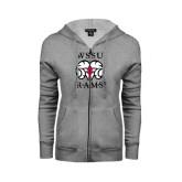 ENZA Ladies Grey Fleece Full Zip Hoodie-Stacked WSSU Rams