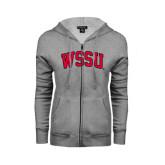 ENZA Ladies Grey Fleece Full Zip Hoodie-Arched WSSU