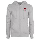 ENZA Ladies Grey Fleece Full Zip Hoodie-Ram Head