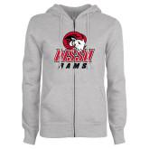 ENZA Ladies Grey Fleece Full Zip Hoodie-WSSU Rams
