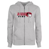 ENZA Ladies Grey Fleece Full Zip Hoodie-WSSU Rams Horizontal