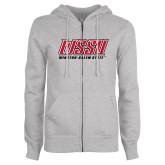 ENZA Ladies Grey Fleece Full Zip Hoodie-WSSU Rams Stacked