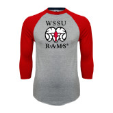 Grey/Red Raglan Baseball T Shirt-Stacked WSSU Rams