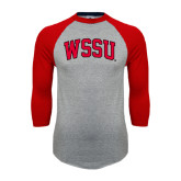 Grey/Red Raglan Baseball T Shirt-Arched WSSU