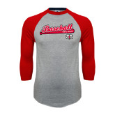 Grey/Red Raglan Baseball T Shirt-Baseball Script