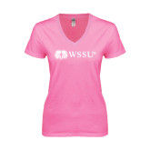Next Level Ladies Junior Fit Ideal V Pink Tee-Ram WSSU