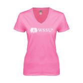 Next Level Ladies Junior Fit Deep V Pink Tee-Ram WSSU