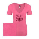 Next Level Ladies Vintage Pink Tri Blend V-Neck Tee-WSSU Ram