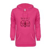 ENZA Ladies Hot Pink V Notch Raw Edge Fleece Hoodie-WSSU Ram