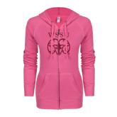ENZA Ladies Hot Pink Light Weight Fleece Full Zip Hoodie-WSSU Ram