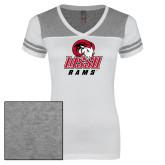 Ladies White/Heathered Grey Juniors Varsity V Neck Tee-WSSU Rams